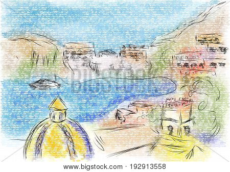 Sorrento italy. abstract illustration of city on multicolor backgground