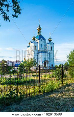 St. Alexander Nevsky church in the sun at sunset