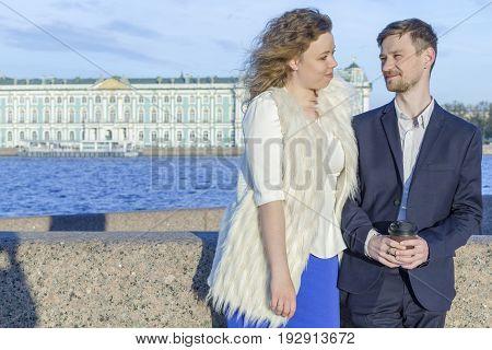 Lovers in the evening walk (Saint Petersburg, Russia)