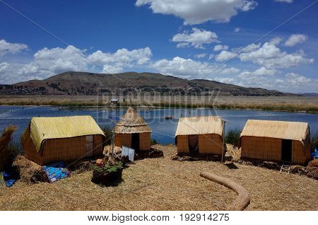 Reed Huts Powered By Solar Energy On The Floating Islands On Lake Titicaca