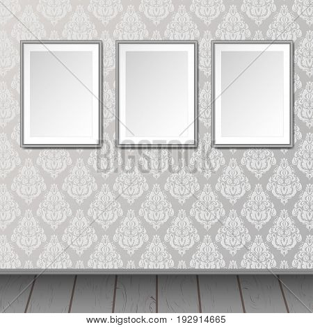 Gallery interior with 3 empty frames background. Vintage victorian pattern and wooden floor. Can be used as mock up. Blank canvas.