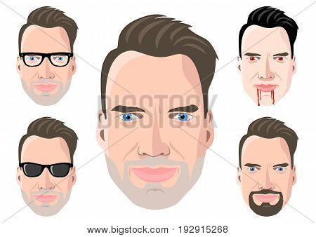 Five different men's portraits on white background