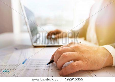 Computer business man working work businessman project