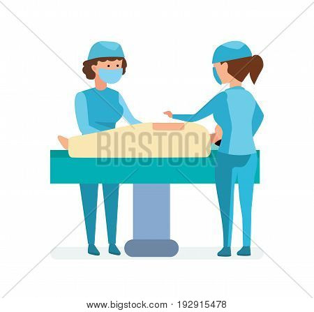 Modern medicine and healthcare system. Medical workers on the operation, take the patient on the table, assist and help each other. Vector illustration, people in cartoon style.