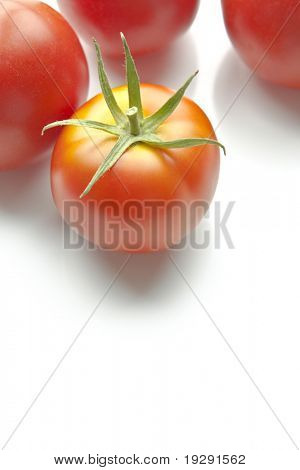 Ripe red tomatoes on white background along top of frame. Copy space beneath