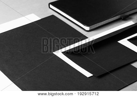 Objects office blank black and white table white background