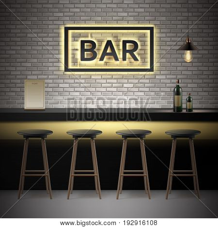Vector bar, pub interior with brick walls, counter, chairs, bottles of alcohol, menu, illuminated signboard and lamp