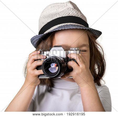 Girl little vintage camera elementary age preadolescent child fun