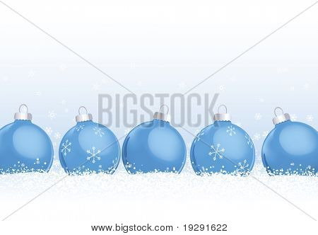 Blue Christmas ornaments in snow. Snowflakes falling in background against soft blue gradient.