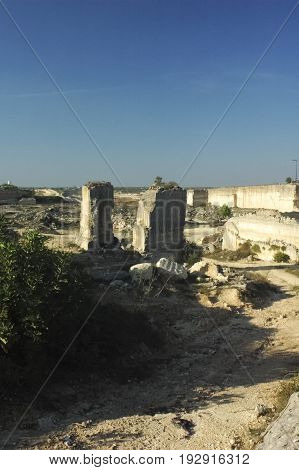 View of abandoned limestone quarry in Italy