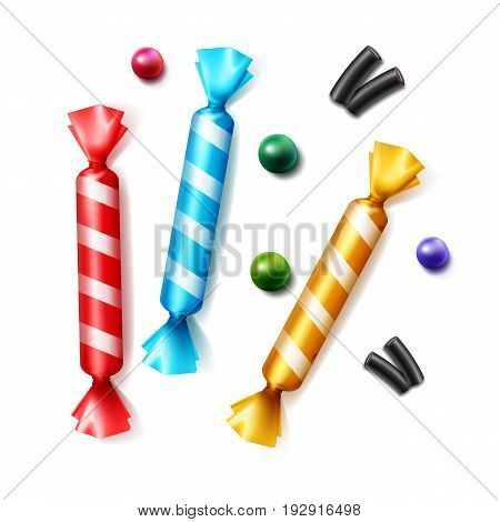 Vector set of different scattered candies in striped colorful yellow, blue, red foil wrapper top view isolated on white background