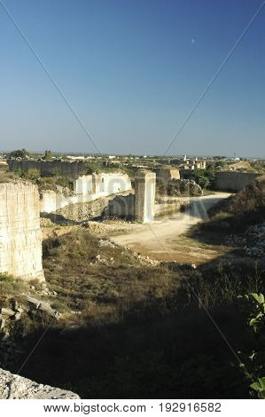 View of abandoned limestone quarry near Lecce