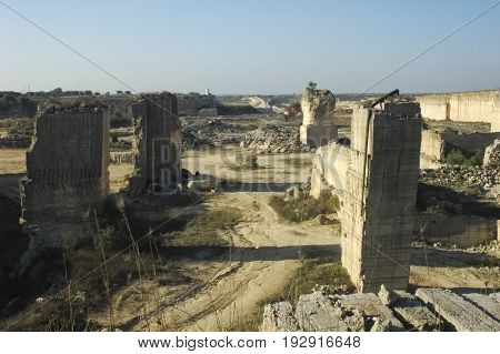 View of spectacular limestone quarry near Lecce