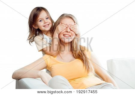 Eyes closed daughter mother elementary age well being girl beauty