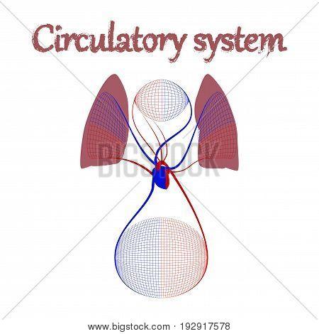 human organ icon in flat style circulatory system