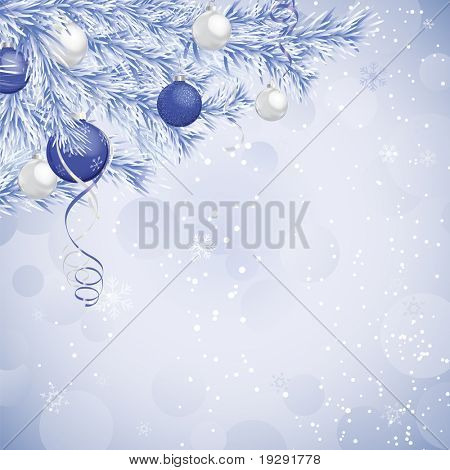 Blue and silver holiday scene with frosted blue evergreen branches.