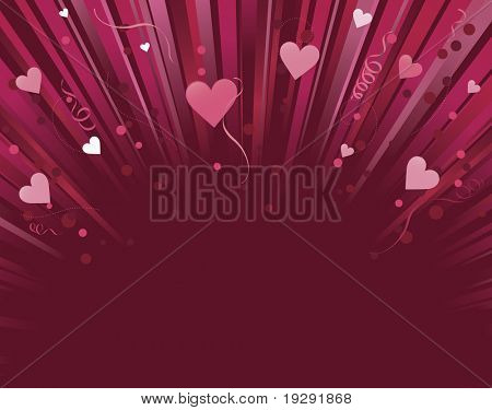 Dark red and pink love heart background light burst