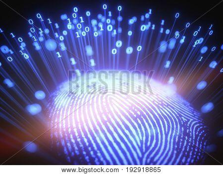 3D illustration. Image concept of fingerprint emitting binary codes.