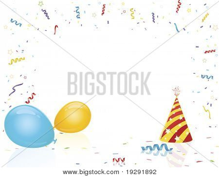 Party hat and balloons on reflective surface with confetti burst
