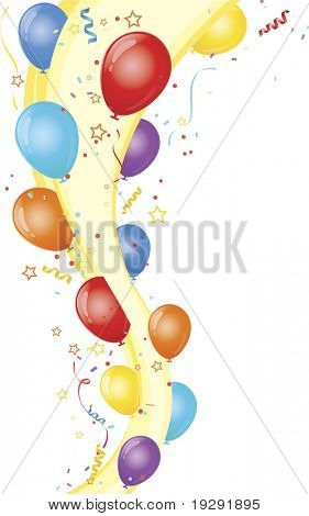 Vertical wave with party balloons and confetti