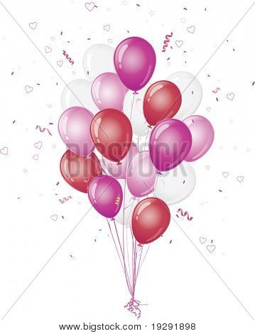 Pink and red balloons with heart and confetti burst