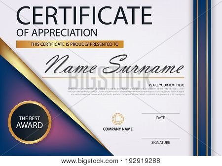 Purple gold Elegance horizontal certificate with Vector illustration white frame certificate template with clean and modern pattern presentation