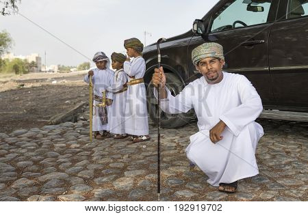 Omani Man Dressed In Traditional Clothing For Occasion Of Eid Al Fitr