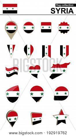Syria Flag Collection. Big Set For Design.