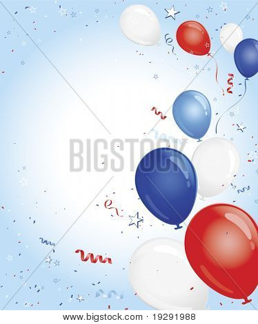 Red white and blue balloons with confetti on blue gradient background