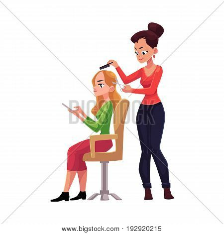 Hairdresser cutting hair, making haircut for blond woman who uses smartphone meanwhile, cartoon vector illustration isolated on white background. Hairdresser woman making haircut for her client