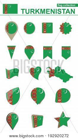 Turkmenistan Flag Collection. Big Set For Design.