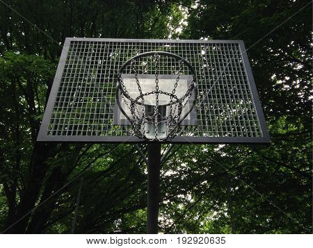 streetball or street basketball basket made entirely from metal