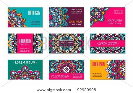 Indian style horizontall card set with bright colorful mandala. Front and back pages. Ethnic ornamental blank. Oriental design concept. Eastern collection. EPS 10 vector. Clipping masks.