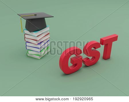 G S T concept with Books - 3D Rendering Image
