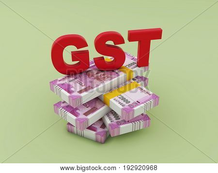 G S T concept with New Indian Currency - 3D Rendering Image