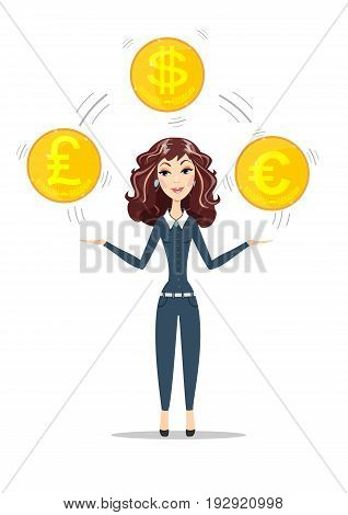Abstract Businesswoman holding gold coins with different currency symbols. Women in business. foreign exchange concept For use in presentations. Stock flat vector illustration