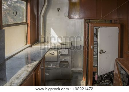 SELCUK, TURKEY, 21 FEBRUARY 2017 - Interior kitchen of an old train wagon located in Museum Selcuk Turkey. This wagon was produced in Germany in 1926 for Ulu Onder Ataturk.
