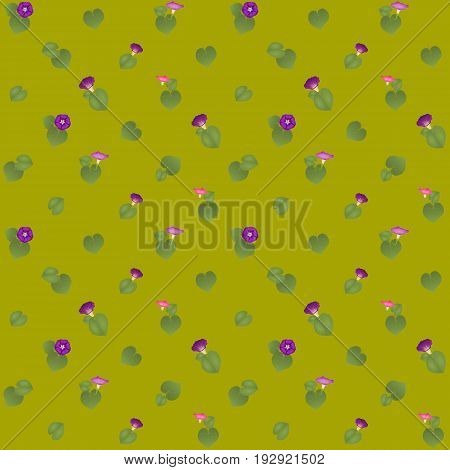 Simple Seamless Pattern with Pink Ipomoea Flowers. Shadeless retro ornate. Plain texture with Convolvulus Flowers for decoration or background.