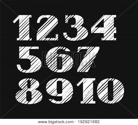 The figures, diagonal hatch, white, black background, vector.  Figures with serifs. Simulation of the hatch diagonally.
