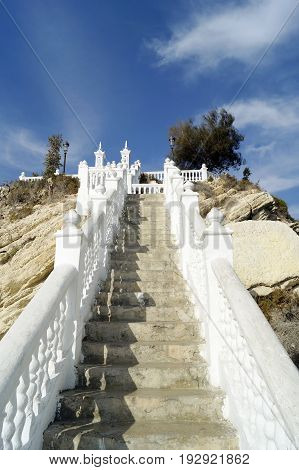 Stairs leading to the Balcon del Mediterraneo in Benidorm Spain