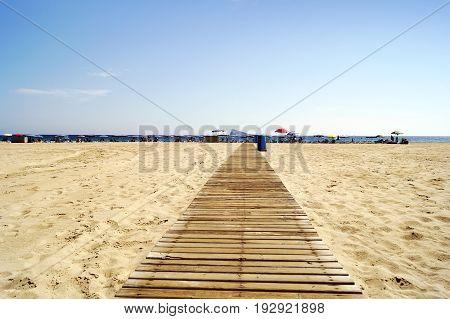 Famous Poniente beach located in Benidorm, Spain