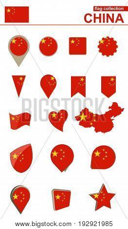 China Flag Collection. Big Set For Design.