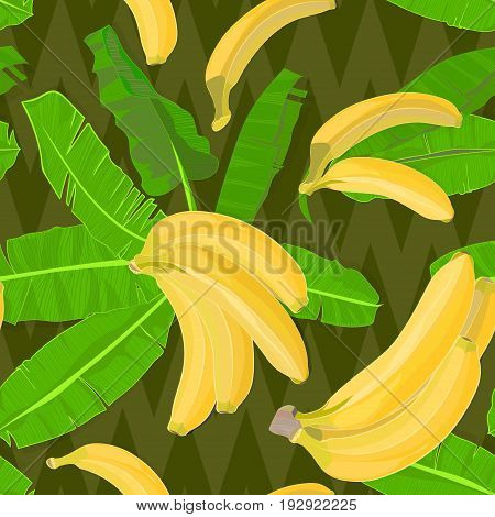 Seamless hand drawn tropical pattern with palm leaves jungle exotic leaf and banana fruit on dark geometrical background. Fashion textile print summer wallpaper. Vector illustration botanical drawing