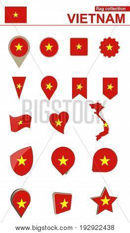 Vietnam Flag Collection. Big Set For Design.