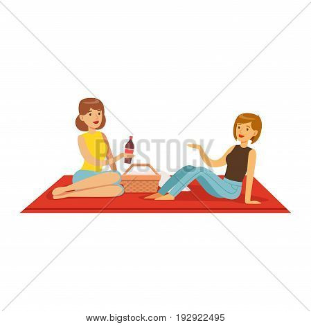 Pretty girls having picnic, two women characters sitting on a picnic plaid vector Illustration isolated on a white background
