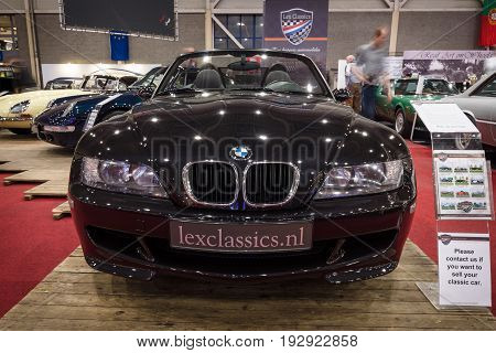 MAASTRICHT NETHERLANDS - JANUARY 14 2016: Compact luxury sports car BMW Z3M 1999. International Exhibition InterClassics & Topmobiel 2016