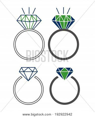 Vector illustration set of icons with beautiful rings. Wedding rings with a diamond on an isolated background. Flat design.