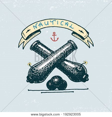 set of engraved vintage, hand drawn, old, labels or badges for a cannon bal. welcome aboard. Marine and nautical or sea, ocean emblems