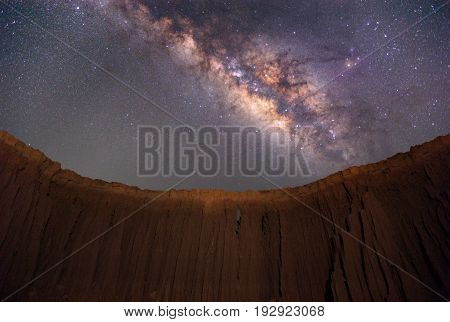 Milky way over the canyon at Lalu rock formations park Sakaeo Thailand