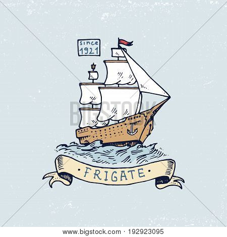 set of engraved vintage, hand drawn, old, labels or badges for atlantic tidal wave, frigate or ship. Marine and nautical or sea, ocean emblems